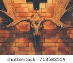 scary mystic moose skull on... | Shutterstock . vector #713583559