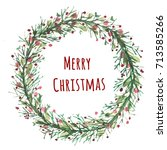 greeting card with christmas... | Shutterstock . vector #713585266