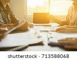 business people meeting... | Shutterstock . vector #713588068