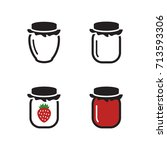 strawberry jam icons set. black ... | Shutterstock .eps vector #713593306