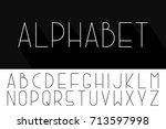 thin minimalistic font. vector... | Shutterstock .eps vector #713597998