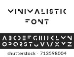 simple modern font. vector... | Shutterstock .eps vector #713598004
