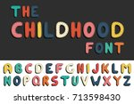 colorful cartoon funny font.... | Shutterstock .eps vector #713598430