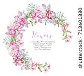 watercolor wreath with pink...   Shutterstock . vector #713601880