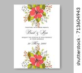 hibiscus wedding invitation... | Shutterstock .eps vector #713604943
