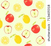 lemon and apple  vector fruit... | Shutterstock .eps vector #713605318