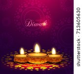 happy diwali background with... | Shutterstock .eps vector #713605630