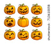 halloween scary pumpkins set of ... | Shutterstock . vector #713610058