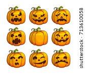 halloween scary pumpkins set of ... | Shutterstock . vector #713610058