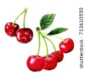 cherry healthy food in a... | Shutterstock . vector #713610550