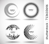 halftone dots in circle form.... | Shutterstock .eps vector #713610646
