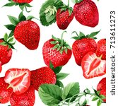 strawberry healthy food pattern ... | Shutterstock . vector #713611273