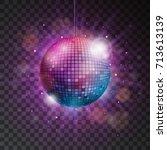 vector shiny disco ball... | Shutterstock .eps vector #713613139