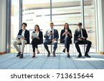stressful people waiting for... | Shutterstock . vector #713615644