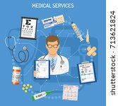 medical services concept with... | Shutterstock .eps vector #713621824