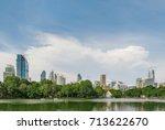 city view wth gren park in...   Shutterstock . vector #713622670