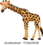 cartoon giraffe isolated on... | Shutterstock .eps vector #713623918