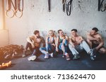 meet up on the mat. beautiful... | Shutterstock . vector #713624470