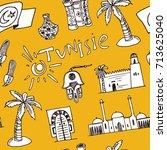 hand drawn tunisia travel...   Shutterstock .eps vector #713625040