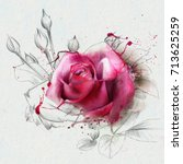 Stock photo red watercolor rose with spots of watercolor paint an element of the sketch contemporary art 713625259
