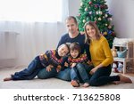 happy family having fun at home ... | Shutterstock . vector #713625808