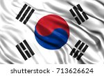 south korea flag drapery | Shutterstock . vector #713626624