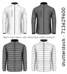 collection of men's softshell... | Shutterstock .eps vector #713629600