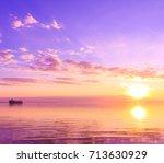 horizon rising paradise  | Shutterstock . vector #713630929