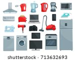 home appliance icons set.... | Shutterstock .eps vector #713632693