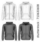 men's hooded sweatshirt and zip ... | Shutterstock .eps vector #713633608