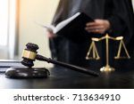 gavel and soundblock of justice ... | Shutterstock . vector #713634910