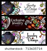 jewelry and luxury jewel sketch ... | Shutterstock .eps vector #713635714