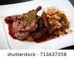 grilled pork with spicy salad... | Shutterstock . vector #713637358