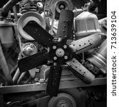 Small photo of exhibition fan of engine aggregate of agricultural machines, black and white