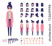 front  side  back view animated ... | Shutterstock .eps vector #713639998