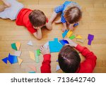 teacher and kids playing with... | Shutterstock . vector #713642740