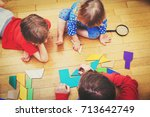 teacher and kids playing with... | Shutterstock . vector #713642749