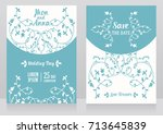 two floral wedding cards ... | Shutterstock .eps vector #713645839