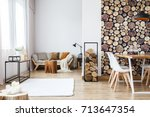 wooden log texture wallpaper in ... | Shutterstock . vector #713647354