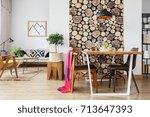 scandinavian open floor plan... | Shutterstock . vector #713647393
