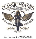 classic vintage motorcycle... | Shutterstock .eps vector #713648086
