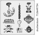 bbq and grill labels set.... | Shutterstock .eps vector #713649754