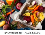 preparing  roasted vegetables... | Shutterstock . vector #713652193