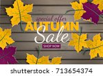 autumn sale template with paper ... | Shutterstock .eps vector #713654374