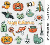 vector patch set with halloween ... | Shutterstock .eps vector #713654470