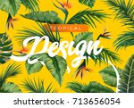 bright tropical background with ... | Shutterstock .eps vector #713656054