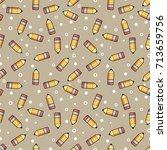 pattern yellow pencil wooden... | Shutterstock .eps vector #713659756
