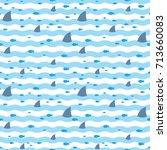 sharks pattern. fish pattern.... | Shutterstock .eps vector #713660083