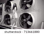 streetstyle  fashion. bw... | Shutterstock . vector #713661880