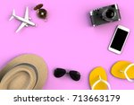 top view of traveler's... | Shutterstock . vector #713663179